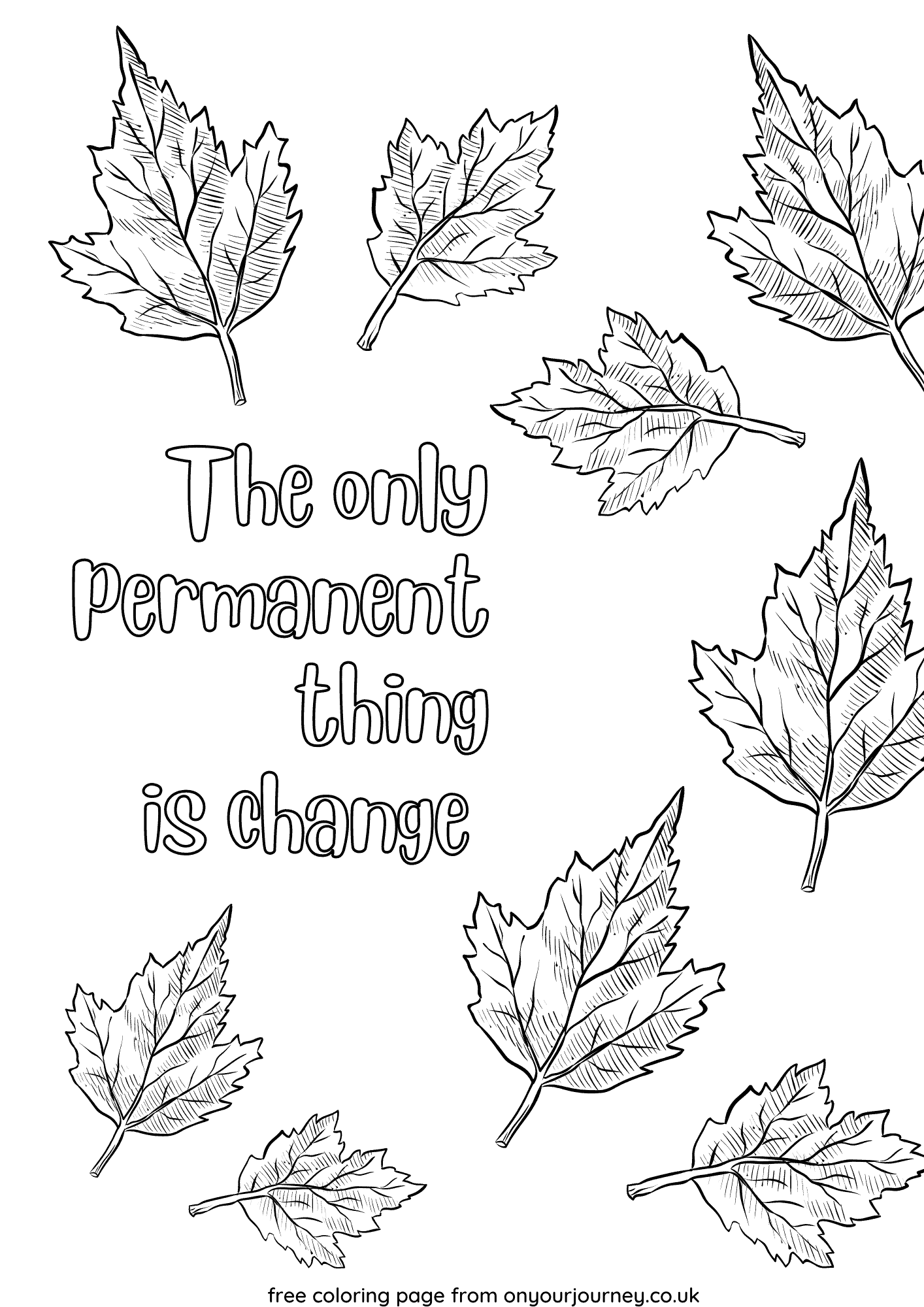 The only permanent thing is change autumn leaves coloring page