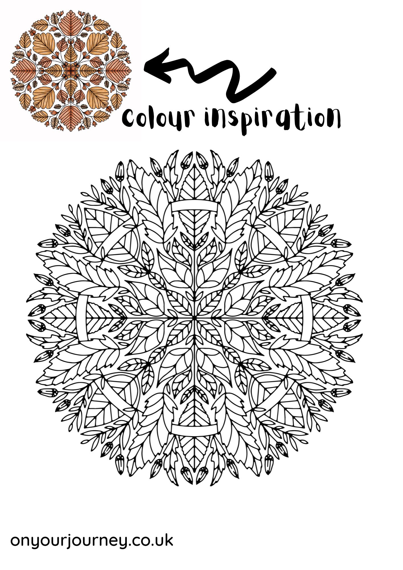 Mandala coloring page for fall season