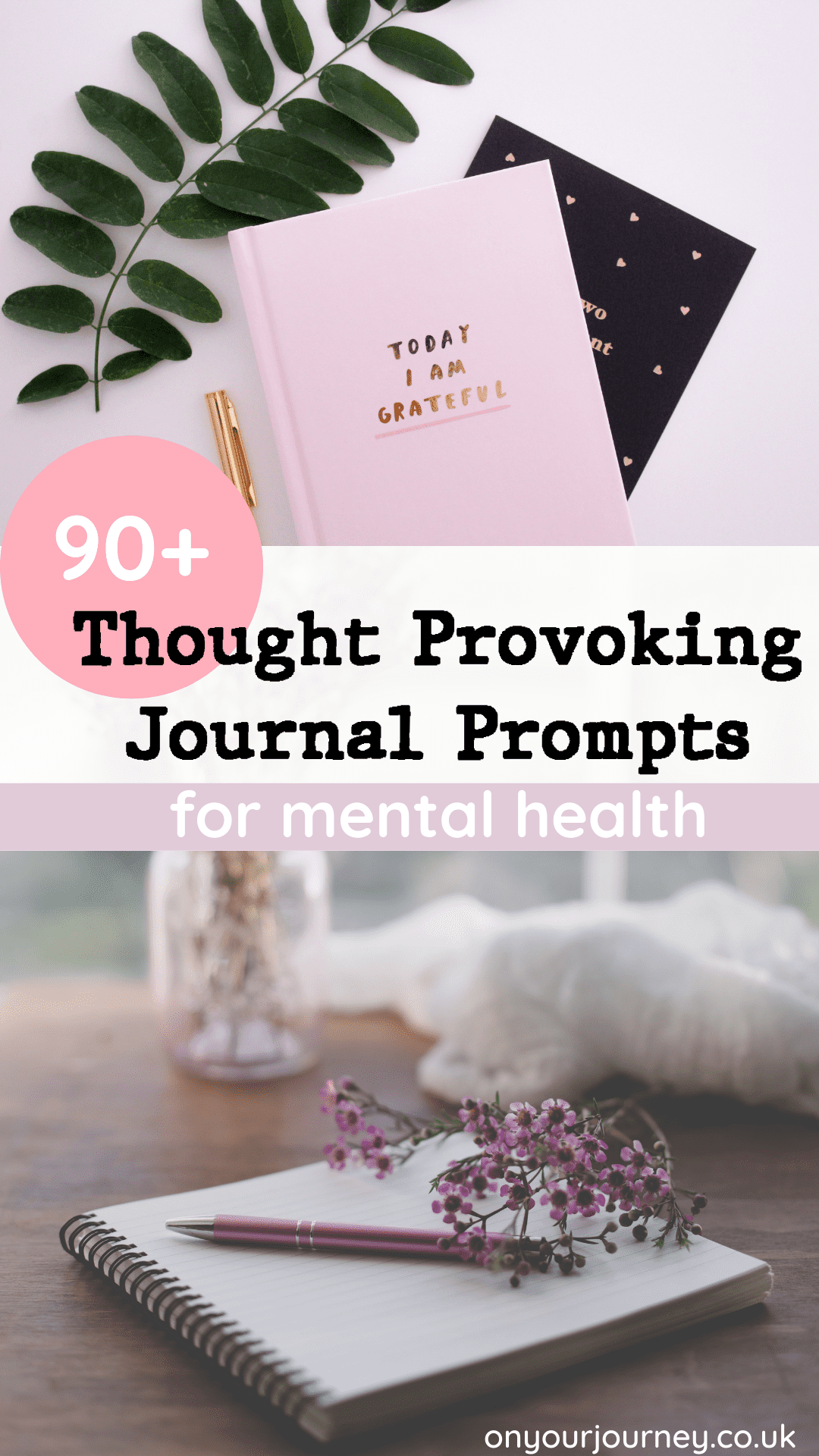 Over 90 thought provoking and creative journal prompts for mental health. Journalling is an amazing tool to process thoughts and feelings, and heal